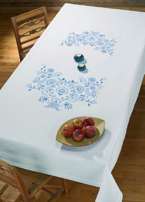 Blue Birds and Flowers Large Table Cover - click for larger image