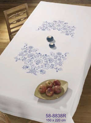 Blue Floral Table Cover - click for larger image