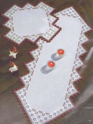Red and White table runner - click for larger image