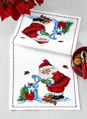 Santa with Woodland Animals Table Runner - click for larger image