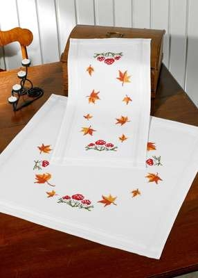 Mushrooms and Leaves Table Runner
