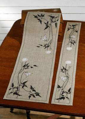 Clematis Silhouette Table Runner
