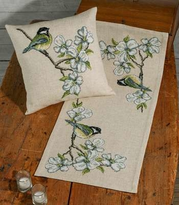Great Tits and Blossom Table Runner - click for larger image