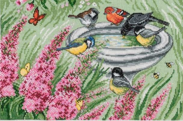Birds and Bird Bath - click for larger image