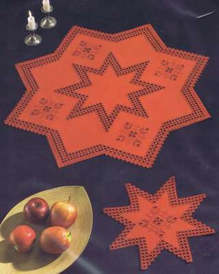 Red Christmas Star long table runner