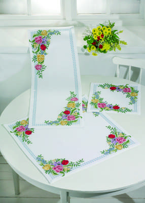 Coloured Roses Table Runner
