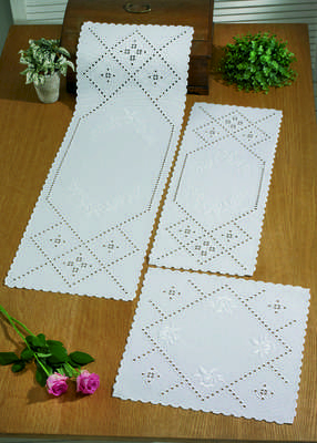 White Hardanger Table Runner - click for larger image