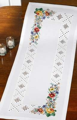 Long White Table Runner with Flowers - click for larger image