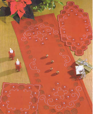 Christmas Red table runner - click for larger image