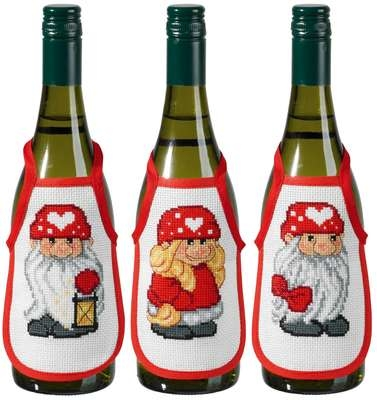 Christmas Elves Wine Bottle Aprons