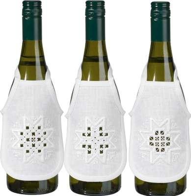 Christmas Hardanger Wine Bottle Aprons - click for larger image