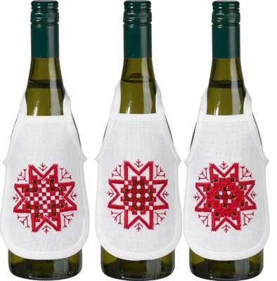 Hardanger Stars Wine Bottle Aprons - click for larger image