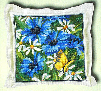 Cornflowers and daisy cushion - click for larger image