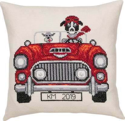 Dogs in Car Cushion - click for larger image