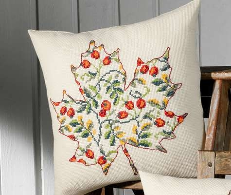 Leaf with Rose Hips Cushion