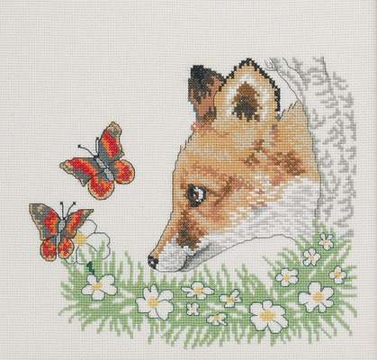 Fox and Butterflies - click for larger image