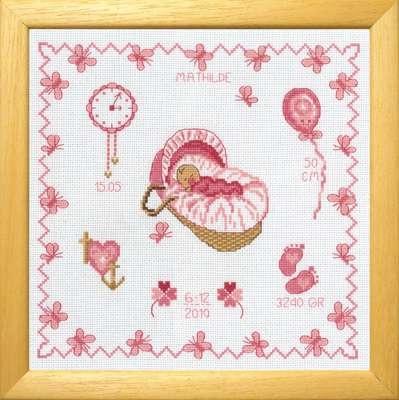 Baby Girl in Basket Birth Sampler - click for larger image