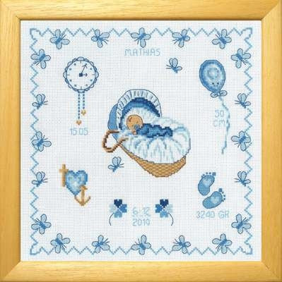 Baby Boy in Basket Birth Sampler - click for larger image