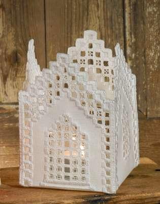 White Hardanger Church Tea Light Holder - click for larger image