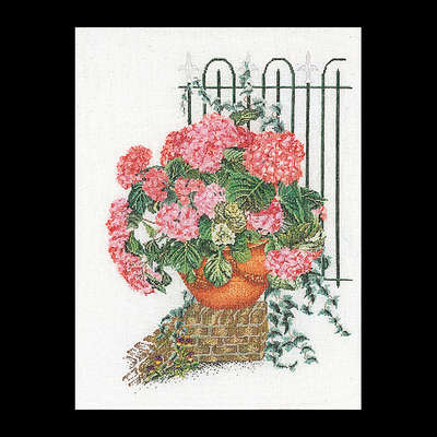 Pink Hydrangea Pot with ivy