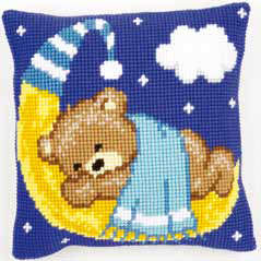 Blue Teddy on the Moon Cushion Cover Kit