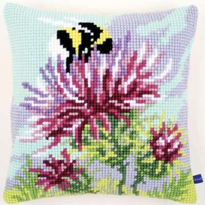 Embroidery Cushion Thistle with Bumblebee