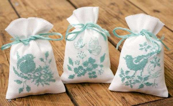 Birds and Flowers Herb bags set of three