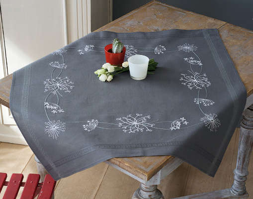 White Flowers Table Cover