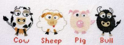 Cow-Sheep-Pig-Bull, The finished cross-stitch