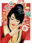 Asian Flower Girl, cross stitch kit by Lanarte