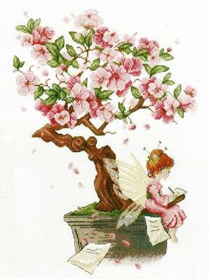 Bonzai Sakura cross stitch kit by MP Studios