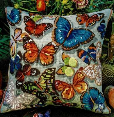 Butterflies Cushion Front - tapestry kit by Glorafilia