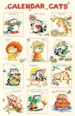 Calender Cats, cross stitch design by Margaret Sherry