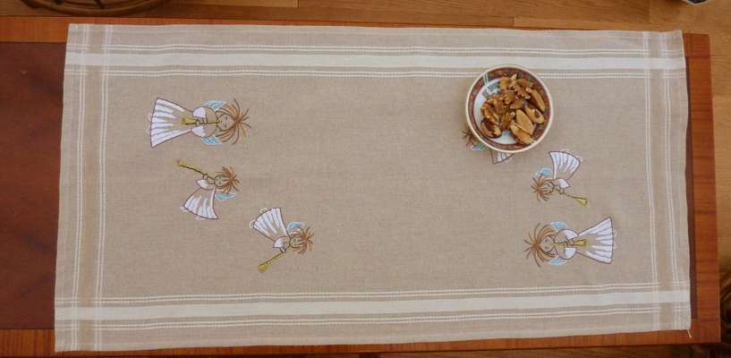 Christmas Angels with Trumpets table runner by Permin of Copenhagen