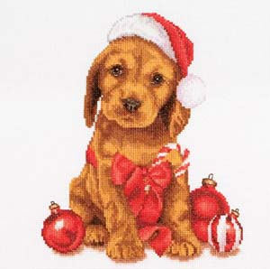 Christmas Puppy, Cross Stitch Kit by Thea Gouverneur