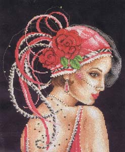 Deco Lady on Black, Counted Cross Stitch Kit by Vervaco (2002/75.342)
