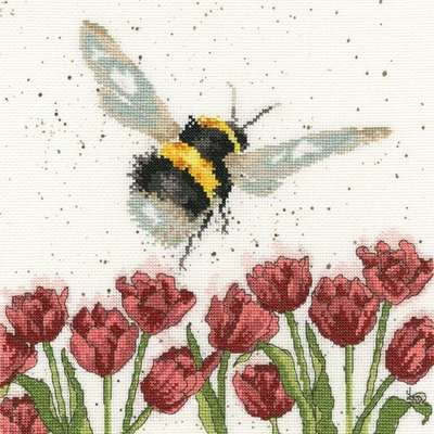 Flight of the Bumble Bee, cross stitch by Hannah Dale, Bothy Threads