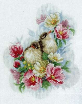 Flower Branch Guardians - cross stitch kit by Lanarte