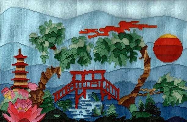 Japanese Garden, Long Stitch Kit by Julie Lynes