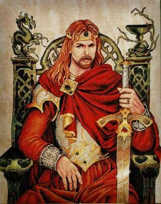 King Arthur, cross stitch pattern by Nimue Fee Main