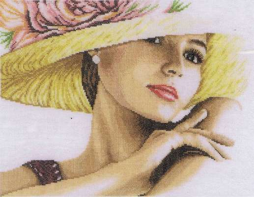 Lady with Hat, cross stitch kit by Lanarte