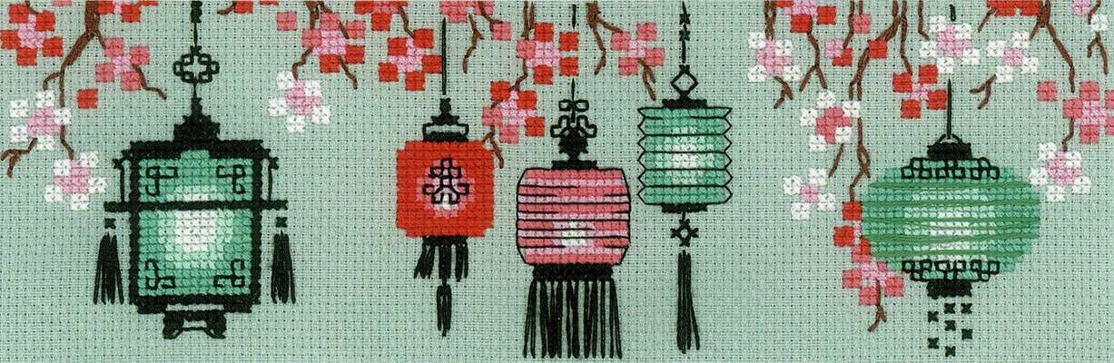 Lanterns - cross stitch kit by Riolis