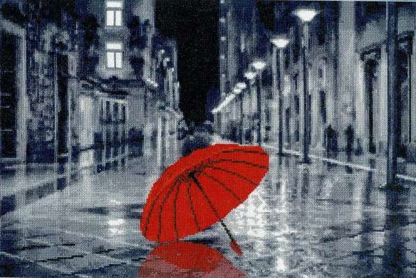 Red Umbrella - cross stitch kit by Golden Fleece
