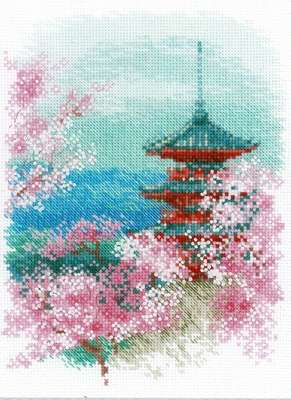 Sakura - Pagoda - cross stitch kit by Riolis
