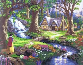 Snow White Discovers the Cottage, cross stitch kit by Thomas Kinkade
